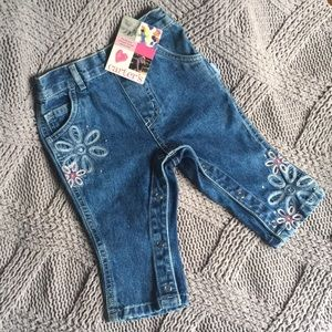 Retro baby jeans with flowers
